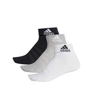 Calcetines adidas 3 pares finos - Pack 3 calcetines tobilleros adidas - blanco, gris y negro - frontal