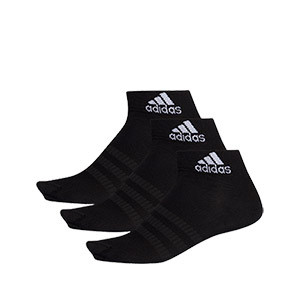 Calcetines adidas 3 pares finos - Pack 3 calcetines tobilleros adidas - negros - frontal