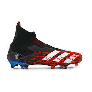 adidas Predator 20+ FG - Botas de fútbol con tobillera sin cordones adidas FG para césped natural o artificial de última generación - rojas y negras - derecho