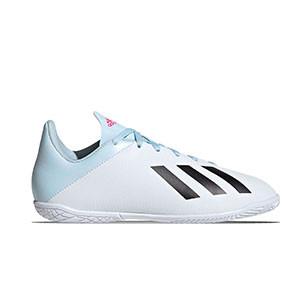 adidas Nemeziz 19.4 IN J - Zapatillas de fútbol sala para niño adidas suela lisa IN - blancas - derecho
