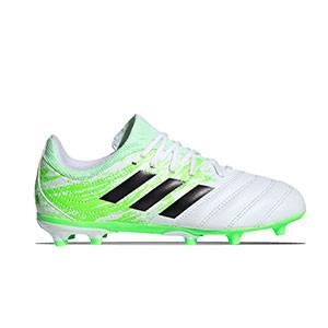 adidas Copa 20.3 FG J - Botas de fútbol de piel para niño adidas FG para césped natural o artificial de última generación - blancas y amarillas flúor - pie derecho