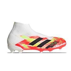 adidas Predator 20+ FG J - Botas de fútbol con tobillera sin cordones infantiles adidas FG para césped natural y artificial de última generación - blancas y rojas - derecho