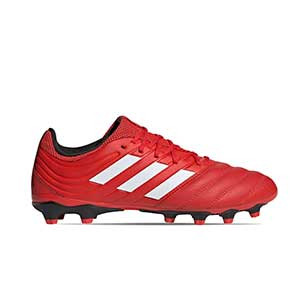 adidas Copa 20.3 MG - Botas de fútbol de piel adidas MG para césped natural o artificial - rojas y negras - derecho
