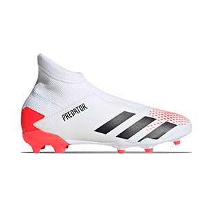 adidas Predator 20.3 LL FG J - Botas de fútbol con tobillera sin cordones infantil adidas FG para césped natural o artificial de última generación - blancas y rojas - derecho