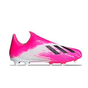 adidas X 19.3 LL FG - Botas de fútbol sin cordones adidas FG para césped natural o artificial de última generación - blancas y rosas - derecho