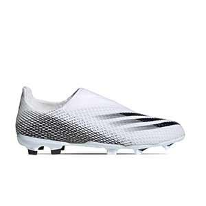 adidas X GHOSTED.3 LL FG J - Botas de fútbol sin cordones infantiles adidas FG para césped natural o artificial de última generación - blanco hueso - pie derecho