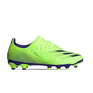 adidas X GHOSTED.3 MG - Botas de fútbol adidas MG para césped natural o artificial - verde lima - pie derecho