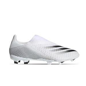 adidas X GHOSTED.3 LL FG - Botas de fútbol sin cordones adidas FG para césped natural o artificial de última generación - blanco hueso - frontal derecho