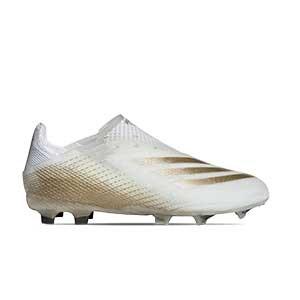 adidas X GHOSTED+ FG J - Botas de fútbol sin cordones infantiles adidas FG para césped natural o artificial de última generación - blanco hueso - pie derecho