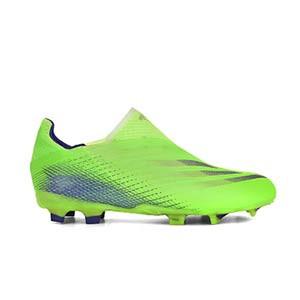 adidas X GHOSTED+ FG J - Botas de fútbol sin cordones infantiles adidas FG para césped natural o artificial de última generación - verde lima - pie derecho