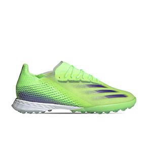 adidas X GHOSTED.1 TF - Zapatillas de fútbol multitaco adidas suela turf - verde lima - pie derecho