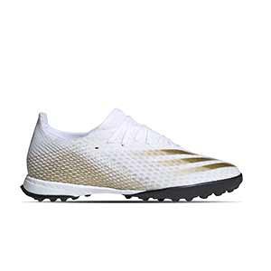 adidas X GHOSTED.3 TF - Botas de fútbol multitaco adidas suela turf - blanco hueso - pie derecho