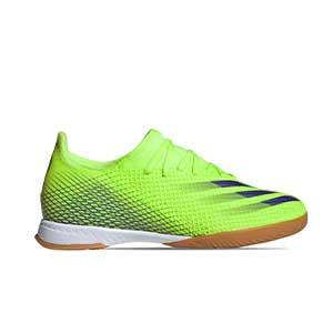 adidas X GHOSTED.3 IN - Botas de fútbol sala adidas suela lisa IN - verde lima - pie derecho