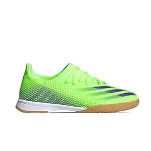 adidas X GHOSTED.3 IN J - Zapatillas de fútbol sala infantiles adidas suela lisa IN - verde lima - pie derecho