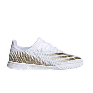 adidas X GHOSTED.3 IN J - Botas de fútbol sala infantiles adidas suela lisa IN - blanco hueso - pie derecho
