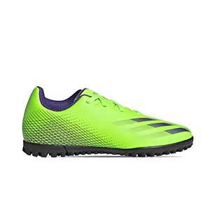 adidas X GHOSTED.4 TF J - Zapatillas de fútbol multitaco infantiles adidas suela turf - blanco hueso - pie derecho