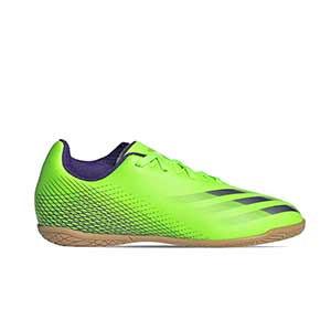 adidas X GHOSTED.4 IN J - Zapatillas de fútbol sala infantiles adidas suela lisa IN - verde lima - pie derecho