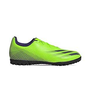adidas X GHOSTED.4 TF - Zapatillas de fútbol multitaco adidas suela turf - verde lima - pie derecho