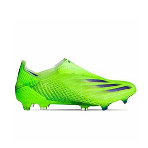adidas X GHOSTED+ FG - Botas de fútbol sin cordones adidas FG para césped natural o artificial de última generación - verde lima - pie derecho