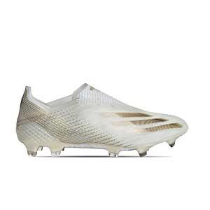 adidas X GHOSTED+ FG - Botas de fútbol sin cordones adidas FG para césped natural o artificial de última generación - blanco hueso - pie derecho