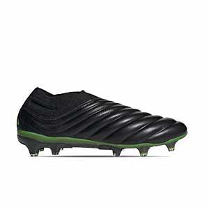 adidas Copa 20+ FG - Botas de fútbol de piel de canguro sin cordones adidas FG para césped natural o artificial de última generación - negras y verdes - pie derecho