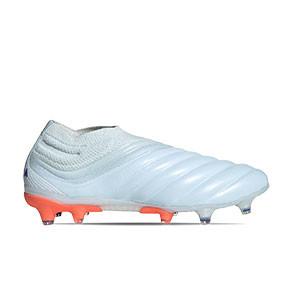 adidas Copa 20+ FG - Botas de fútbol de piel de canguro sin cordones adidas FG para césped natural o artificial de última generación - azul celeste - pie derecho