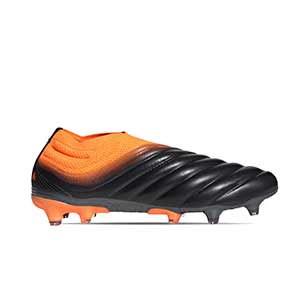 adidas Copa 20+ FG - Botas de fútbol de piel de canguro sin cordones adidas FG para césped natural o artificial de última generación - negras y naranjas - pie derecho