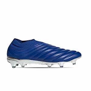 adidas Copa 20+ FG - Botas de fútbol de piel de canguro sin cordones adidas FG para césped natural o artificial de última generación - azules - pie derecho