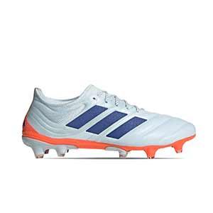 adidas Copa 20.1 FG - Botas de fútbol de piel de canguro adidas FG para césped natural o artificial de última generación - azul celeste - pie derecho