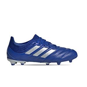 adidas Copa 20.1 FG Junior - Botas de piel infantiles adidas suela FG para césped natural o artificial de última generación - azules - pie derecho