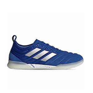 adidas Copa 20.1 IN - Zapatillas de fútbol sala de piel de canguro adidas suela lisa IN - azules - pie derecho