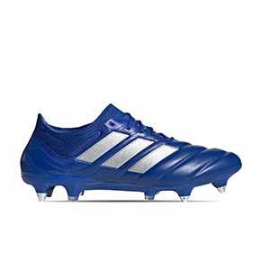 adidas Copa 20.1 SG - Botas de piel de canguro adidas suela SG para césped natural húmedo - azules - pie derecho