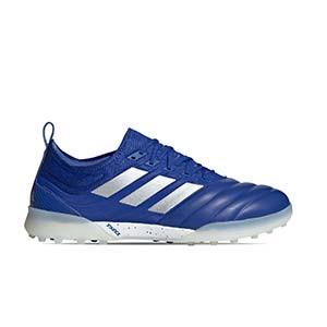 adidas Copa 20.1 TF - Zapatillas de fútbol multitaco de piel de canguro adidas suela turf - azules - pie derecho
