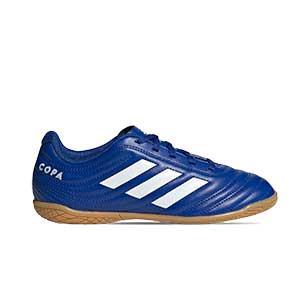 adidas Copa 20.4 IN J - Zapatillas de fútbol sala para niño adidas suela lisa IN - azules - pie derecho
