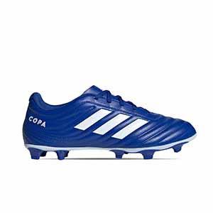 adidas Copa 20.4 FG - Botas de fútbol adidas FG para césped natural o artificial de última generación - azules - pie derecho