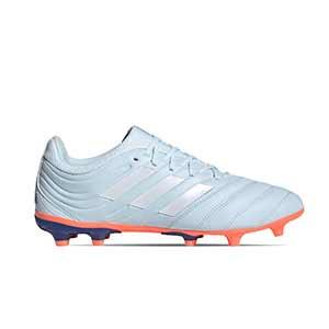 adidas Copa 20.3 FG - Botas de fútbol de piel adidas FG para césped natural o artificial de última generación - azul celeste - pie derecho