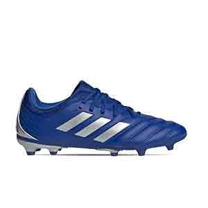 adidas Copa 20.3 FG J - Botas de fútbol de piel para niño adidas FG para césped natural o artificial de última generación - azules - pie derecho