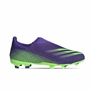 adidas X GHOSTED.3 LL FG J - Botas de fútbol sin cordones infantiles adidas FG para césped natural o artificial de última generación - verde lima - pie derecho