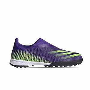 adidas X GHOSTED.3 LL TF J - Zapatillas multitaco sin cordones infantiles adidas suela turf - verde lima - pie derecho