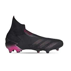 adidas Predator Mutator 20+ FG - Botas de fútbol con tobillera sin cordones adidas FG para césped natural o artificial de última generación - negras y rosas - pie derecho
