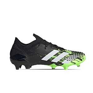 adidas Predator Mutator 20.1 Low FG - Botas de fútbol adidas FG para césped natural o artificial de última generación - verde lima y negras - pie derecho