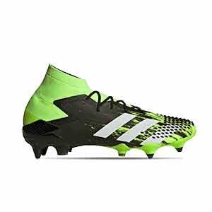 adidas Predator Mutator 20.1 SG - Botas de fútbol con tobillera adidas SG para césped natural blando - verde lima y negras - pie derecho