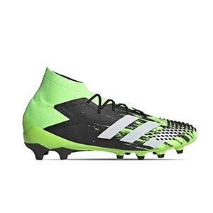 adidas Predator Mutator 20.1 AG - Botas de fútbol adidas con tobillera AG para césped artificial - verde lima y negras - pie derecho