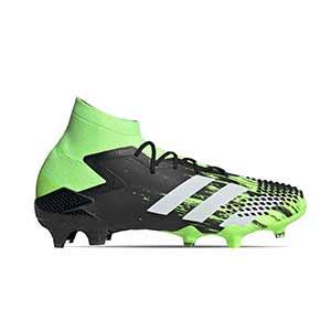 adidas Predator Mutator 20.1 FG - Botas de fútbol adidas con tobillera FG para césped natural o artificial de última generación - verde lima y negras - pie derecho