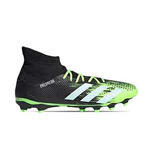 adidas Predator 20.3 MG - Botas de fútbol con tobillera adidas MG para césped artificial - verde lima y negras - pie derecho