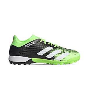 adidas Predator 20.3 Low TF - Zapatillas de fútbol multitaco adidas suela turf - verde lima y negras - pie derecho