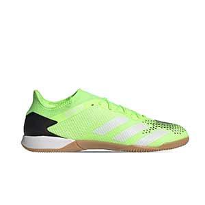 adidas Predator 20.3 Low IN - Zapatillas de fútbol sala adidas suela lisa IN - verde lima y negras - pie derecho