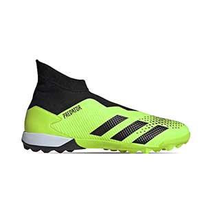 adidas Predator 20.3 LL TF - Zapatillas de fútbol multitaco con tobillera sin cordones adidas suela turf - verde lima y negras - pie derecho