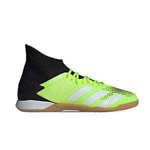 adidas Predator 20.3 IN - Zapatillas de fútbol sala con tobillera adidas suela lisa IN - verde lima y negras - pie derecho