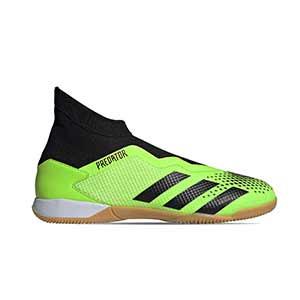 adidas Predator 20.3 LL IN - Zapatillas de fútbol sala con tobillera sin cordones adidas suela lisa IN - verde lima y negras - pie derecho